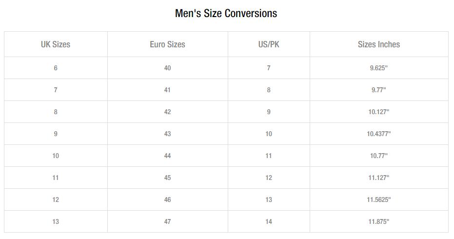 Unze london men shoes size guide