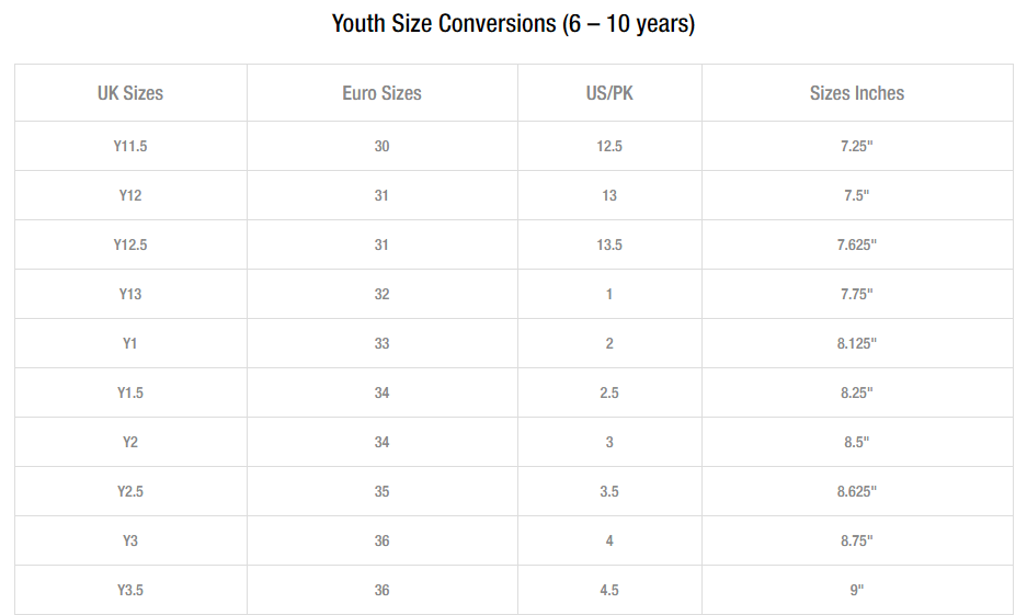 Unze london youth shoes size guide